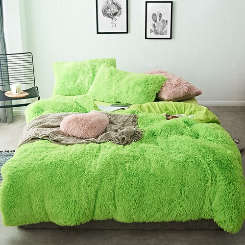 Fluffy Blanket With Pillow Cover 3 Pieces Set