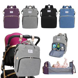 Multifunctional Portable Diaper Bag Folding Large Backpack Baby Bed Diaper Changing Table and Pads