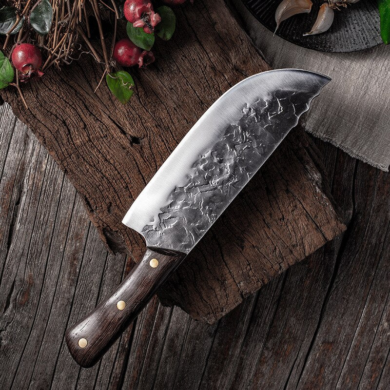 7.6inch Handmade Forged Kitchen Knife Butcher Meat Chopping Cleaver Chinese Chef Knife 5CR15 Stainless Steel