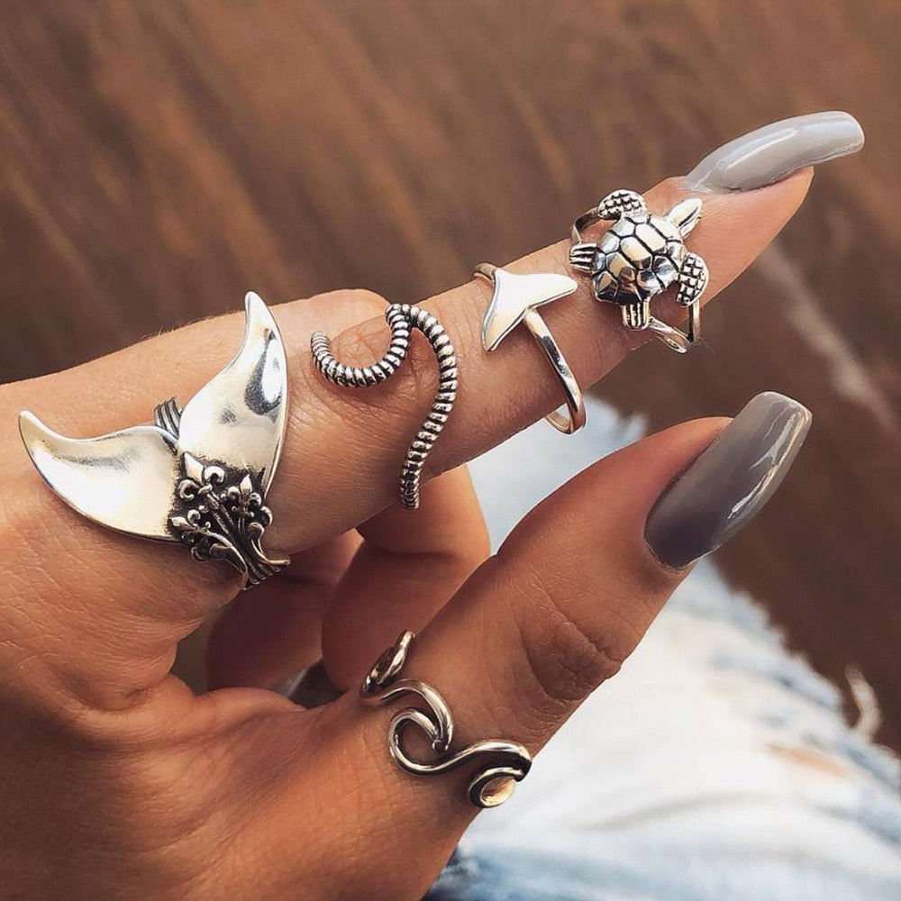 Vintage Fish Tail Turtle Waves Mermaid Rings Set - kidsstoreefw