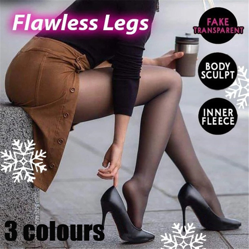Flawless Legs Fake Translucent Warm Fleece Pantyhose - kidsstoreefw