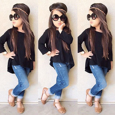 2PCS Girls Clothing Set Solid Black Long Tops + Jean Denim Pants Outfits - kidsstoreefw