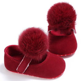 Baby Girls Pompom Princess Soft Sole Crib Shoes - kidsstoreefw
