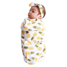 Newborn Baby Girl Swaddle Blanket with Headband