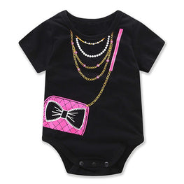 Baby Girl Onesie with Purse and Necklace Print - KidsJoyful