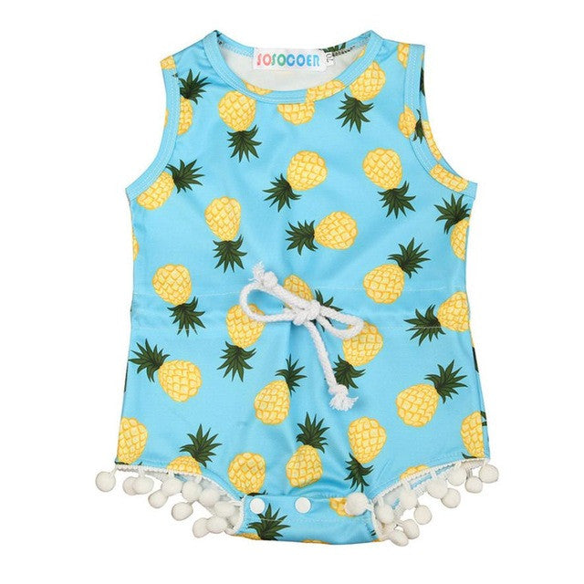 Baby Girls Romper with Pineapple Print and  Tassels - kidsstoreefw