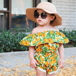 Off-Shoulder Toddler Baby Girl Jumpsuit - KidsJoyful