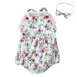 Rose Floral Printed Baby Romper with Headband - KidsJoyful