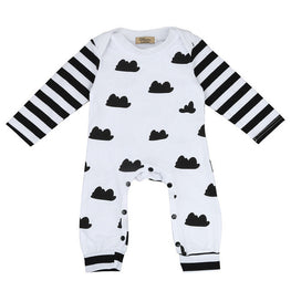 Baby Girl/Boy Long Sleeve Romper- Black & White - KidsJoyful