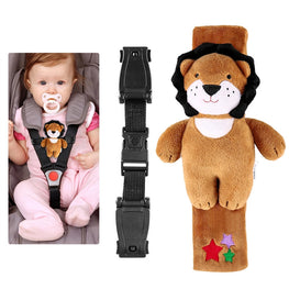 Baby Seat Lock Safety Harness Belt Locking Buckle with A Plush Lion Cover for Child Car Chair Stroller Pram Pushchair - kidsstoreefw
