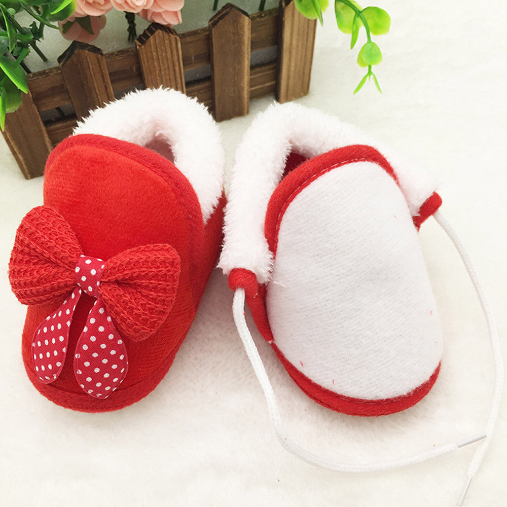 Toddler Infant Newborn Baby Bowknot Shoes Soft Sole Boots Prewalker Warm Shoes - KidsJoyful