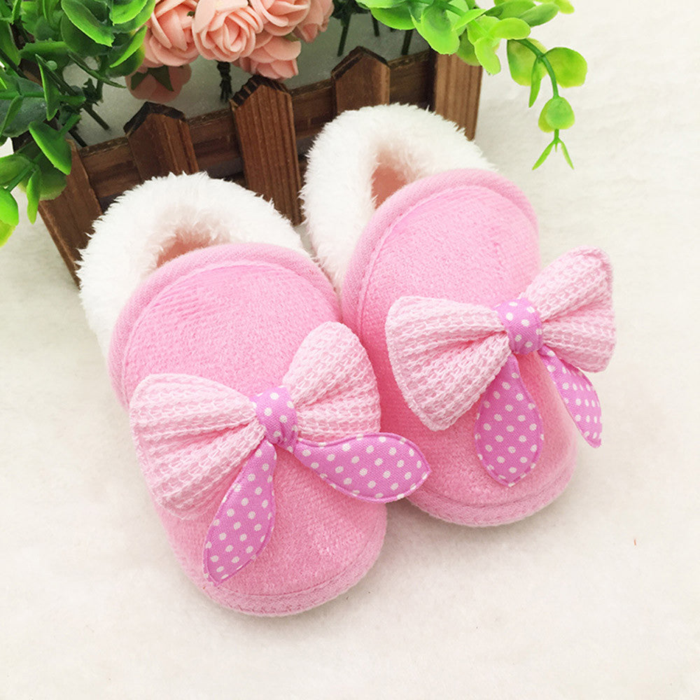 Toddler Infant Newborn Baby Bowknot Shoes Soft Sole Boots Prewalker Warm Shoes - kidsstoreefw