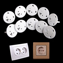 10pcs Bear EU Power Socket Electrical Outlet Baby Kids Child Safety Guard - kidsstoreefw