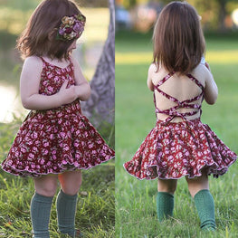 Toddler Baby Girls Floral Backless Dress - KidsJoyful