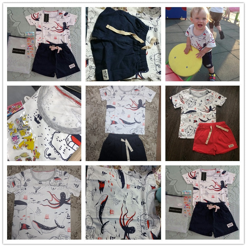 2PCS Children's Sets Boys O-Neck T-Shirt and Pants Shorts Summer Casual Cartoon Pullover - kidsstoreefw