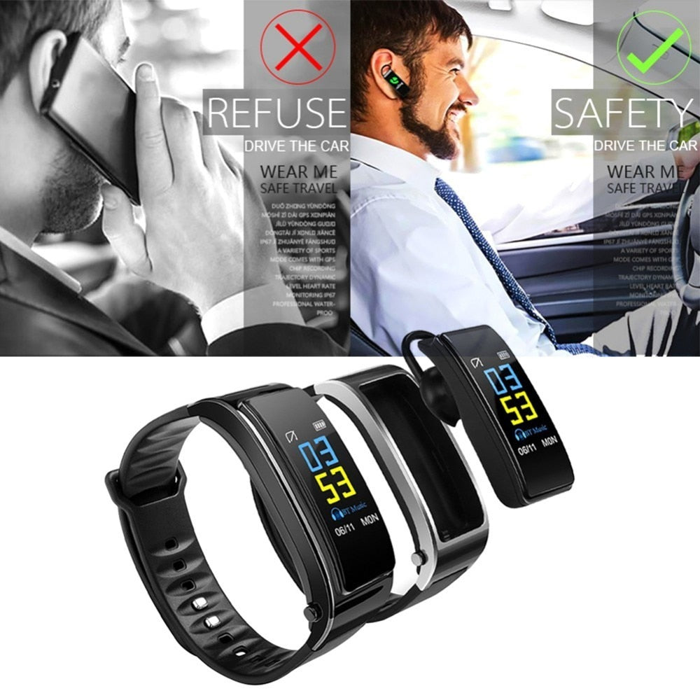 2-in-1 Smart Bracelet with Bluetooth Earphone - kidsstoreefw