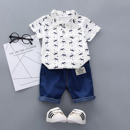 Baby Boy Clothes Floral Print Short Sleeve Shirt Blouse Shorts - kidsstoreefw