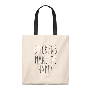 Chicken's Make Me Happy Tote Bag - Vintage