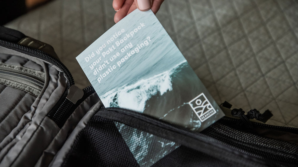 The Pakt Travel Backpack's Plastic-free packaging