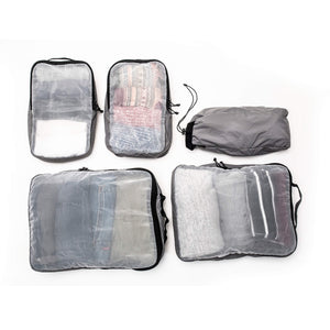 The Pakt Backpack Packing Cube Set includes 5 pieces: 2 large cubes, 2 small cubes, and 1 stuff sack.