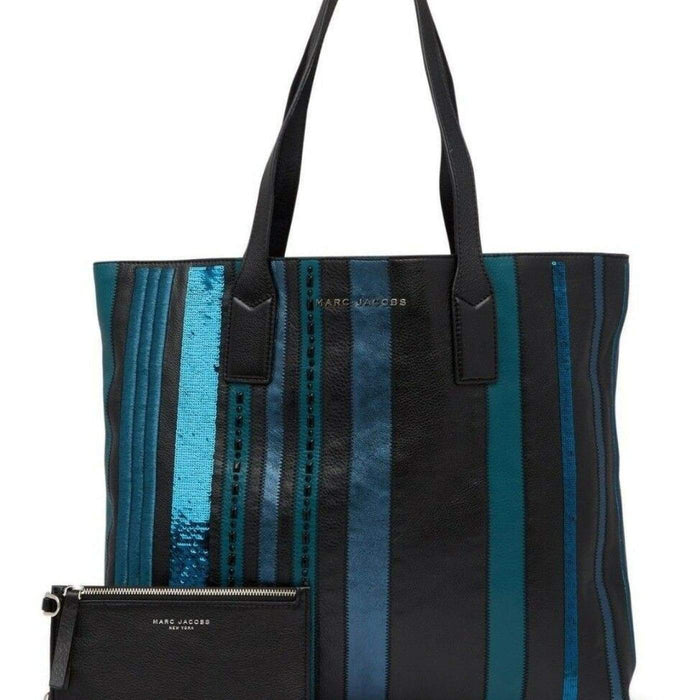 7061f564d ... Marc Jacobs Wingman Stripes Shopping Bag Large Leather Tote TEAL MULTI  $595