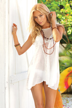 d3fa81310a White Crochet Beach Cover Up, Cover Up - Nettie & Norie's Boutique