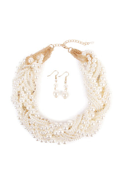 Bedazzled Pearl Necklace & Earring Set