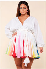 Color Burst Flare Dress White