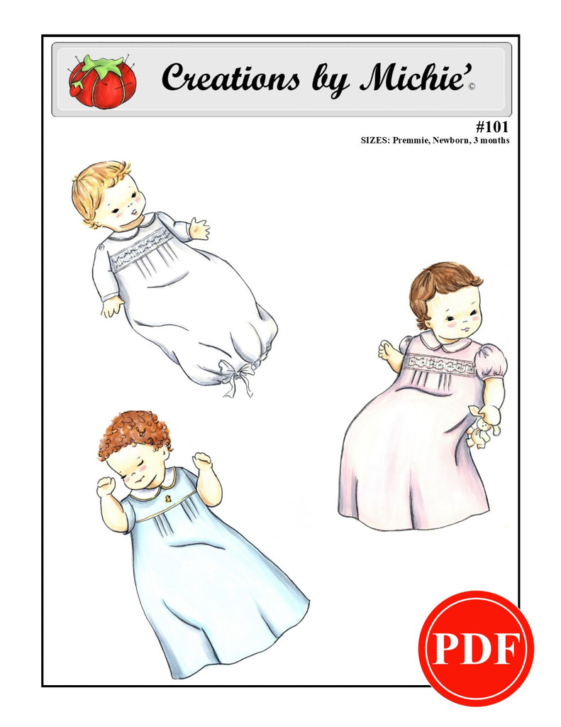 101 - Printable Infant Daygown