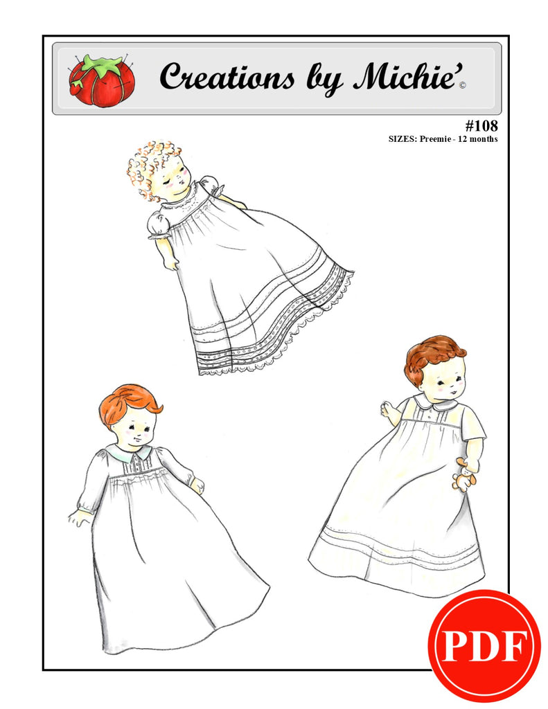 108 - Printable Infant Gown