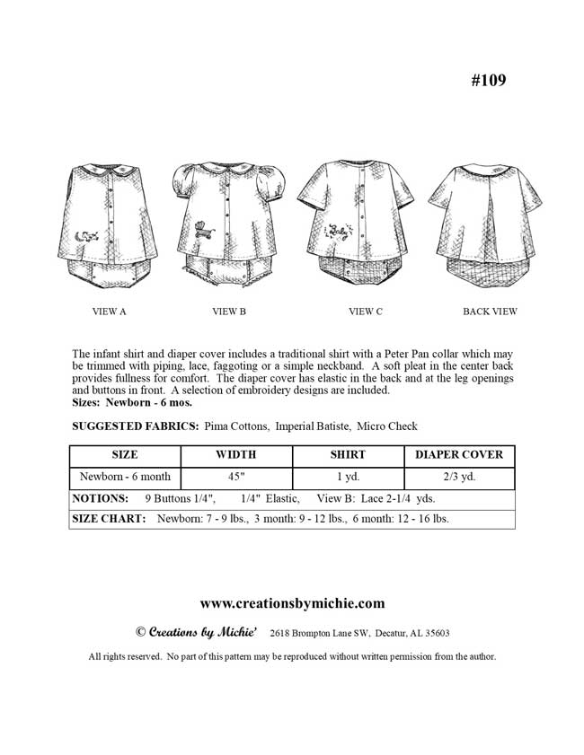 109 - Printable Infant Shirt & Diaper Cover