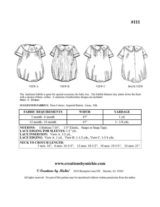111 - Printable Boys Heirloom Bubble