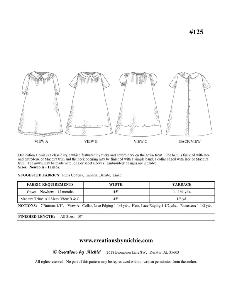 125 - Printable Dedication Gown