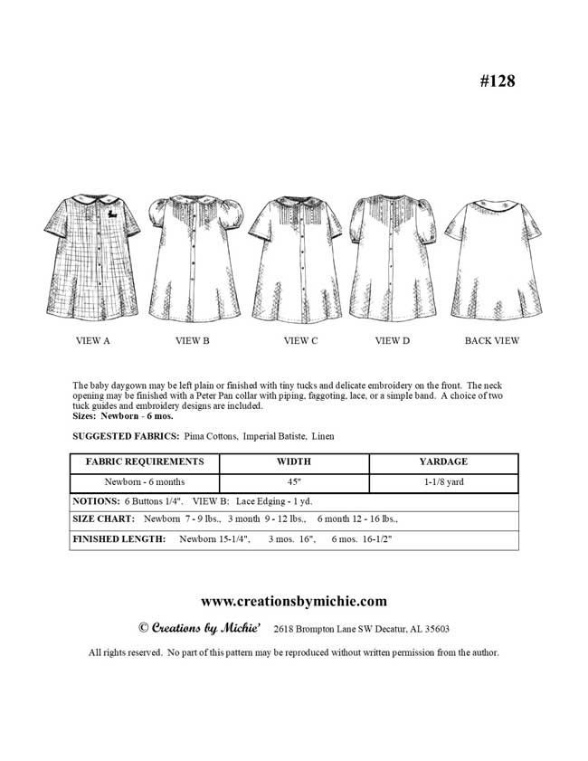 128 - Printable Baby Daygown