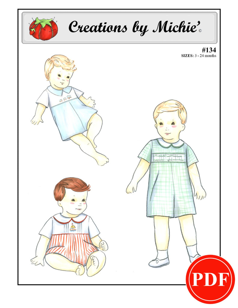 134 - Printable Baby Romper with Yoke