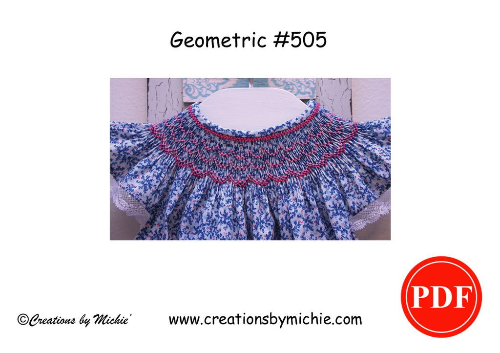 Printable Geometric Smocking design – 505