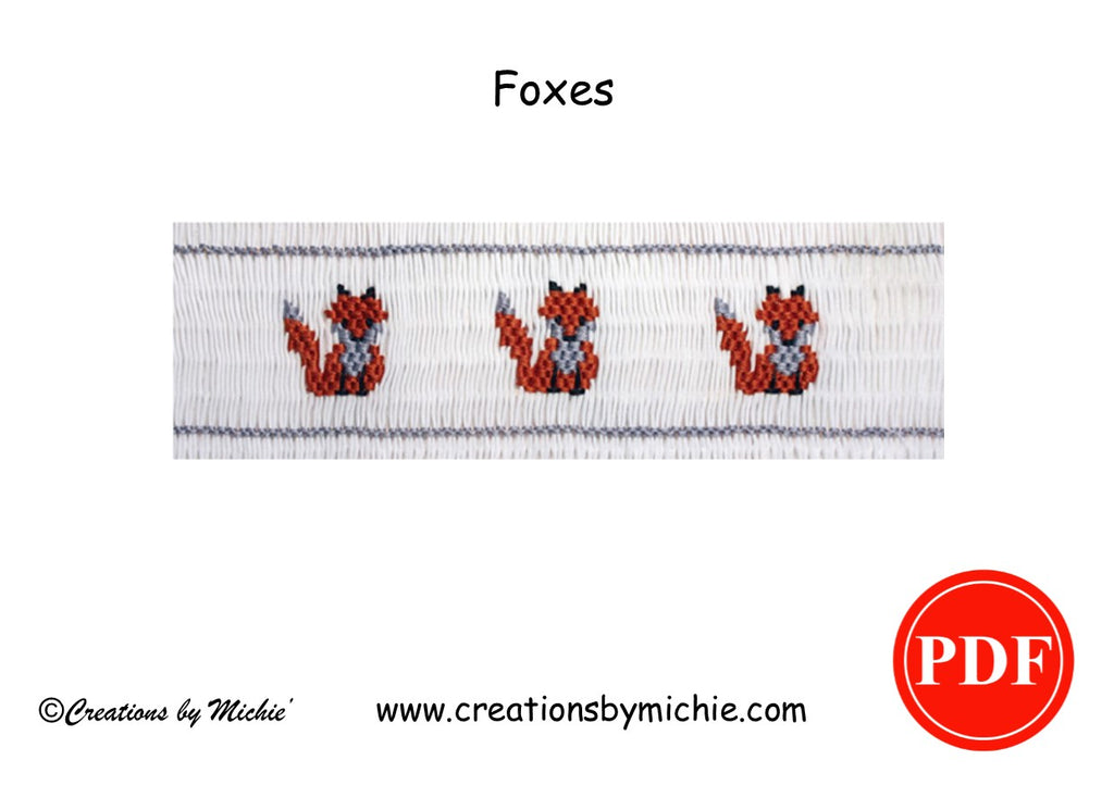 Printable Foxes Smocking Design