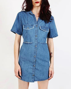 Blue Denim Back Tie Dress Dresses - Order online www.5iento.dk