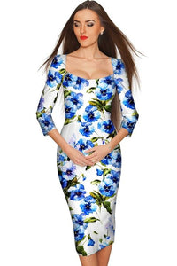Catch Me Lili White & Blue Floral Bodycon Dress - Dresses - Order online www.5iento.dk