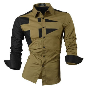Fashion Patchwork Long Sleeve Shirt - Visit www.5iento.dk