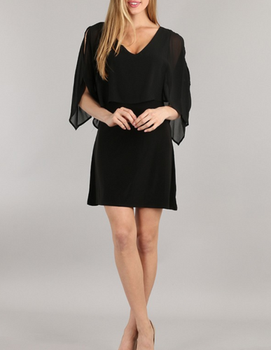 Victoria - Sexy Black Open Sleeve Mini Dress - Visit www.5iento.dk