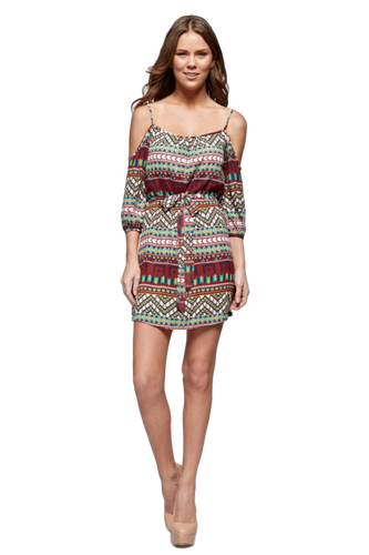 Women's Aztec Printed Cold Shoulder Tank Dress Dresses - Order online www.5iento.dk