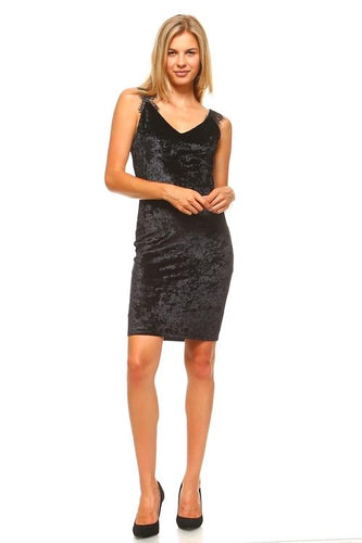 Women's V-Neck Velvet Lace Detail Tank Dress Dresses - Order online www.5iento.dk