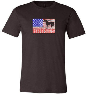American Horses Shirt ~ Short-Sleeve Shirt (Adult & Youth) Brown / S