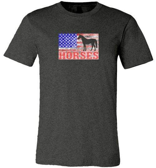 American Horses Shirt ~ Short-Sleeve Shirt (Adult & Youth) Dark Grey Heather / XS
