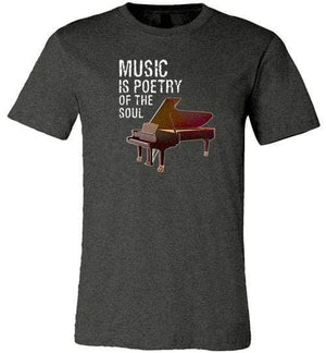 Music is Poetry Piano Shirt Dark Grey Heather / XS