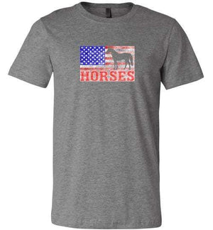American Horses Shirt ~ Short-Sleeve Shirt (Adult & Youth) Deep Heather / XS