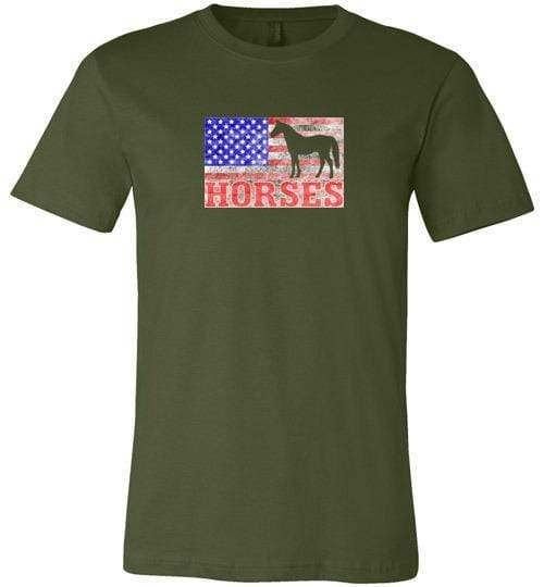 American Horses Shirt ~ Short-Sleeve Shirt (Adult & Youth) Olive / XS