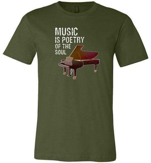 Music is Poetry Piano Shirt Olive / XS