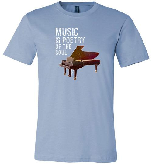 Music is Poetry Piano Shirt Baby Blue / XS